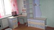 Детская мебель. Удобная для небольшой комнаты. Цвет:бежевый и лиловый.
